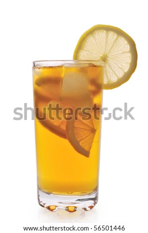 Tea with ice and lemon
