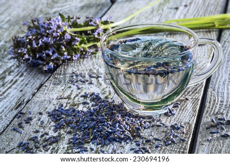 Tea with lavender flowers. - stock photo