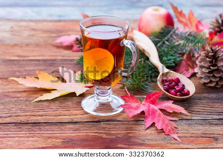 tea with lemon and cinnamon, ripe apples, red autumn leaves of maple, hawthorn berries in a wooden spoon, fir branch and cones on the wooden table closeup - stock photo