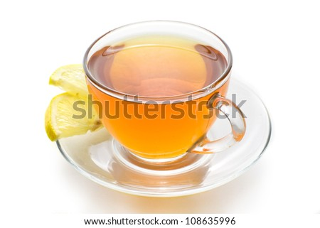 tea with lemon on a white background