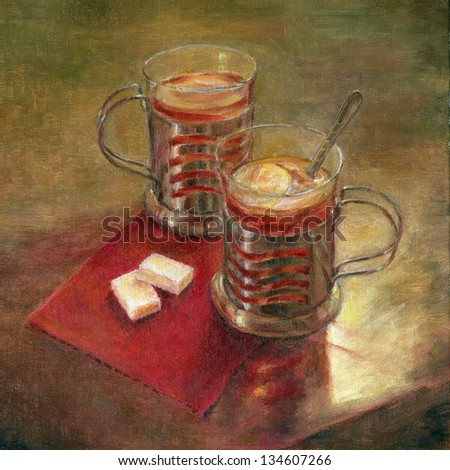 Tea with lemon. Two cups of tea on a table and two lumps of sugar. Oil on a canvas art. - stock photo