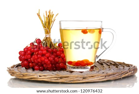 tea with red viburnum isolated on white - stock photo