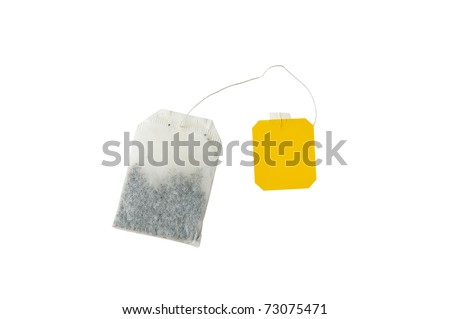 teabag isolated on white with clipping path - stock photo