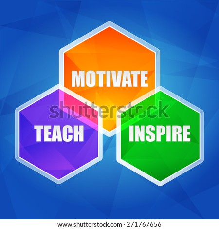 teach, inspire, motivate - education motivation concept words in color hexagons over blue background, flat design - stock photo
