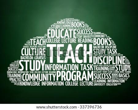 TEACH word cloud, education concept on blackboard - stock photo
