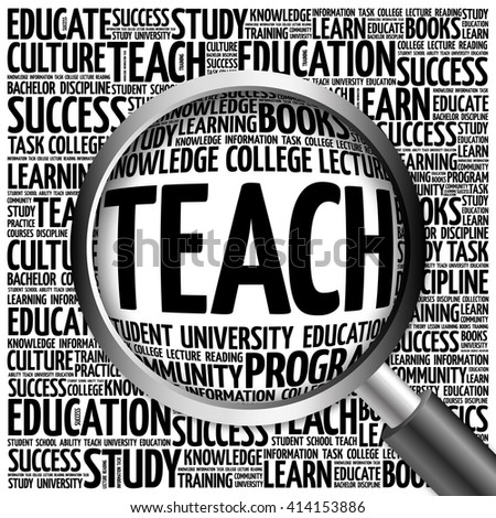 TEACH word cloud with magnifying glass, concept - stock photo
