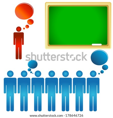 Teacher and a class on a white background - stock photo