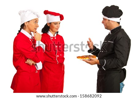 Teacher chef talking with students women about pizza  isolated on white background - stock photo
