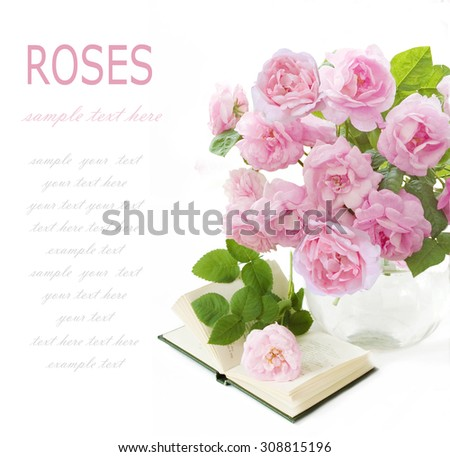 Teacher day (roses flowers bunch, map and books isolated on white) - stock photo