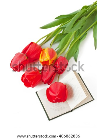 Teacher Day (tulips bunch and book isolated on white background) - stock photo