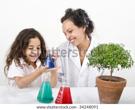 teacher girl pupil science class small tree over white