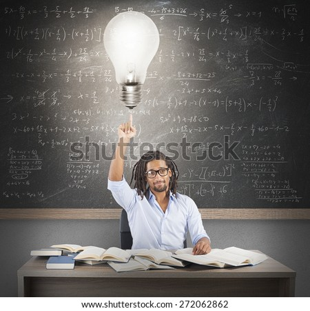 Teacher has a brilliant and smart idea - stock photo