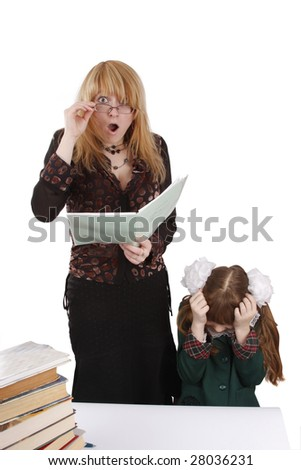 Teacher is shocked at schoolgirl's homework. Woman in shock. Young beautiful teacher portrait with her student in classroom. Isolated on white in studio. - stock photo