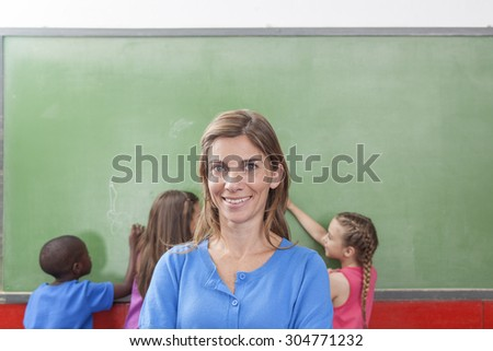Teacher looking at camera