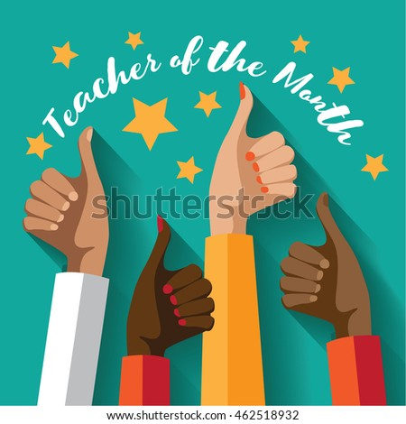 Teacher of the Month thumbs up design.