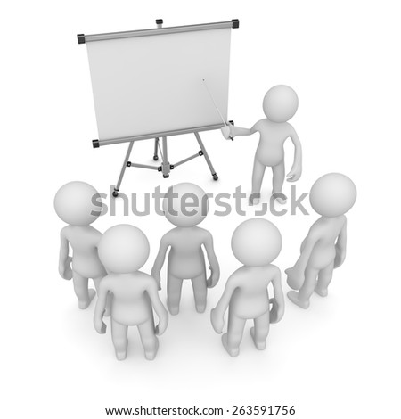Teacher pointing to empty white board, 3d render and computer generated image.