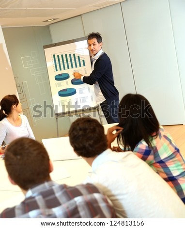 Teacher presenting business plan to college students - stock photo