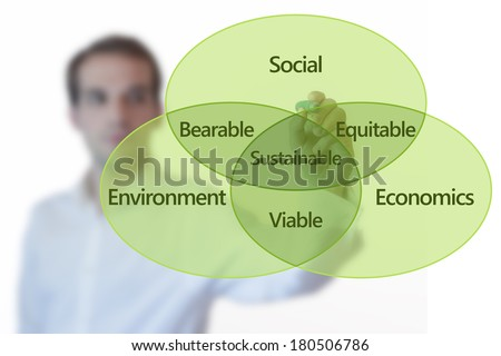 Teacher presenting sustainable development concept with Venn diagram on glass screen isolated on white - stock photo