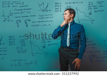 Teacher professor science scientist thinks stands sideways toward mathematical formulas math problem Infographics photo studio