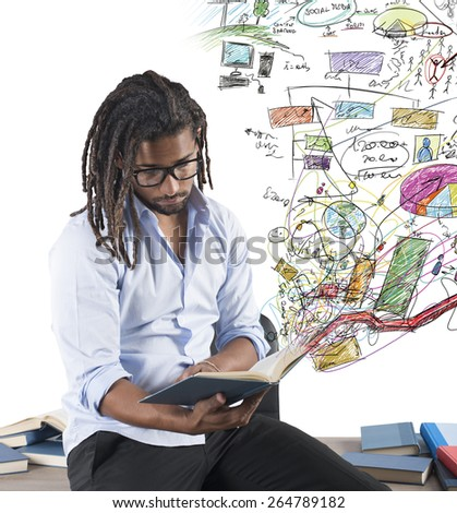 Teacher studying graphs and statistics before class - stock photo