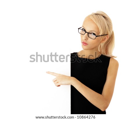 teacher. teaching. Portrait of a beautiful businesswoman holding a blank billboard. beautiful woman and blank sign - stock photo