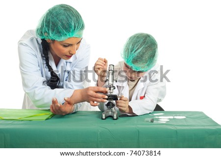 Teacher teaching student in laboratory isolated on white background