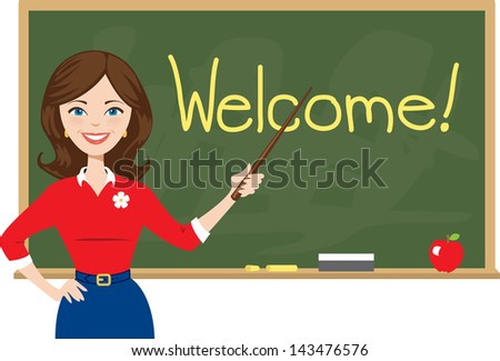 Teacher Welcomes Students Back to School - stock photo
