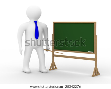 teacher with a pointer at a blackboard. Isolated 3D image - stock photo