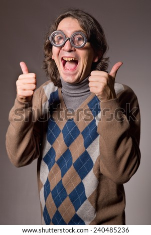 teacher with funny glasses, studio picture - stock photo