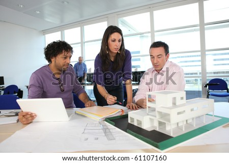 Teachers and student in architecture