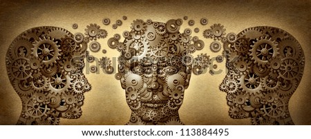 Teaching and learning education concept with human heads in a front and side view made of gears and cogs working together in partnership for career and business success on a grunge old texture.