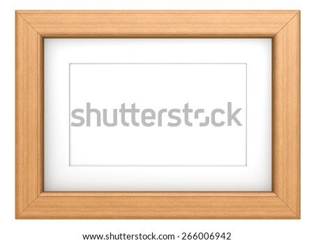 Teak picture frame. Wooden frame Teak, isolated. - stock photo