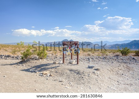 Teakettle Junction in Death Valley in California, USA. Horizontal Image - stock photo