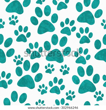 Teal and White Dog Paw Prints Tile Pattern Repeat Background that is seamless and repeats - stock photo