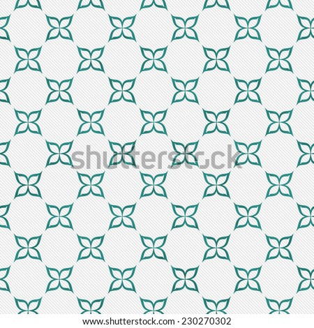 Teal and White Flower Repeat Pattern Background that is seamless and repeats - stock photo
