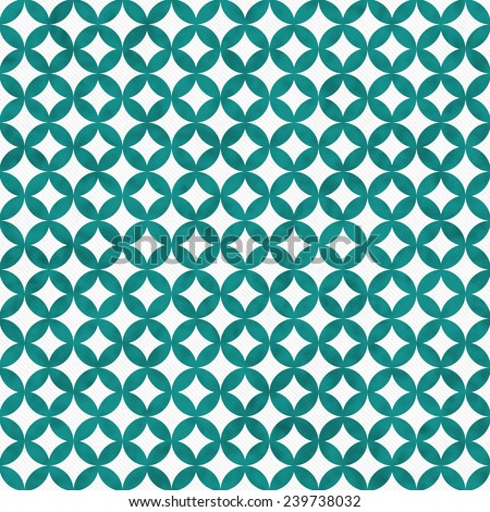 Teal and White Interconnected Circles Tiles Pattern Repeat Background that is seamless and repeats - stock photo