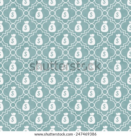 Teal and White Money Bag Repeat Pattern Background that is seamless and repeats - stock photo