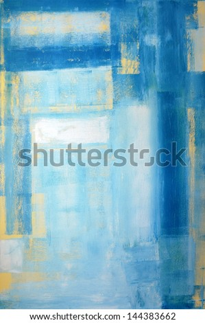 Teal and Yellow Abstract Art Painting - stock photo