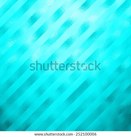Teal Blue Aqua Turquoise Metallic Faux Foil Stripes Background Striped Texture - stock photo