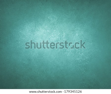 teal blue background wall with black vignette border and light center, abstract detailed vintage grunge background texture, distressed sponge texture, beautiful aquamarine turquoise background color - stock photo