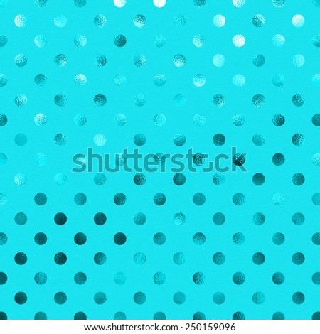 Teal Blue Metallic Foil Polka Dot Pattern Swiss Dots Texture Paper Color Background - stock photo