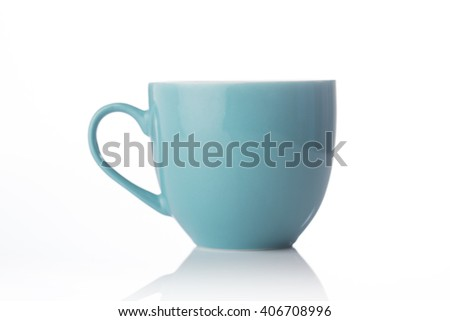 Teal color tea cup on white background.
