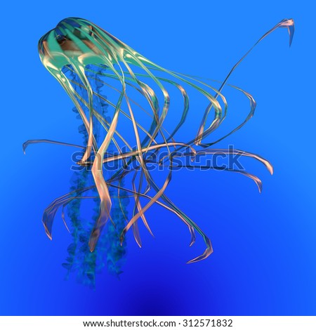 Teal Glowing Jellyfish - The Jellyfish is a transparent gelatinous predator that uses its stinging tentacles to catch fish and small prey. - stock photo