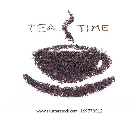 Tealeaves in the shape of cup of tea isolated