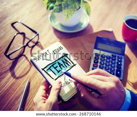 Team Accounting Working Office Cooperation Connection Group Concept - stock photo