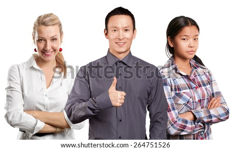 Team and beautiful young businesswoman - stock photo