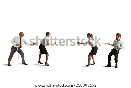 Team and business competition that play a tug of war - stock photo