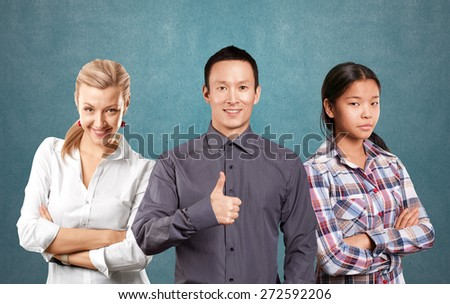Team and Business team, woman with folded hands and man with pointing finger - stock photo