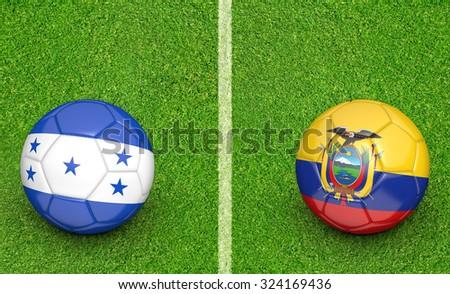 Team balls for Honduras vs Ecuador soccer tournament match - stock photo