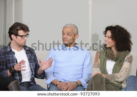 team building, group discussion or therapy - stock photo
